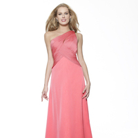 Bridesmaids Dresses, Fashion, pink, A-line, Satin, Floor, Chiffon, Ruching, One-shoulder, Me Too! Bridesmaids