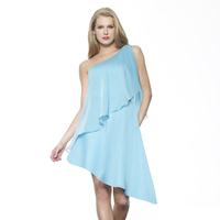 A-line, blue, Chiffon, High-low, Me Too! Bridesmaids, One-shoulder, Ruffles, Tiers, Fashion, Bridesmaids Dresses
