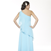 Bridesmaids Dresses, Fashion, blue, A-line, Floor, Chiffon, Ruffles, Tiers, One-shoulder, Me Too! Bridesmaids