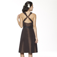 brown, Sweetheart, A-line, Spaghetti straps, Short, Taffeta, Sleeveless, Sash/Belt, Me Too! Bridesmaids