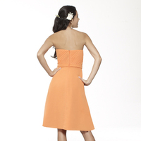 Bridesmaids Dresses, Fashion, orange, Strapless, A-line, Short, Chiffon, Ruffles, Ruching, Sash/Belt, Me Too! Bridesmaids