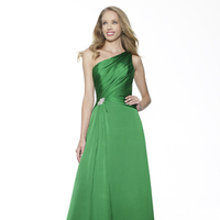 Bridesmaids Dresses, Fashion, green, A-line, Beading, Satin, Floor, Chiffon, Ruching, One-shoulder, Me Too! Bridesmaids