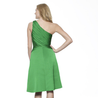 Bridesmaids Dresses, Fashion, green, A-line, Beading, Short, Satin, Chiffon, Ruching, One-shoulder, Me Too! Bridesmaids