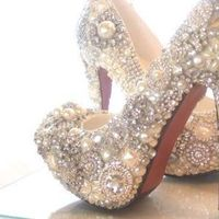 crystal, glass and pearl covered heels