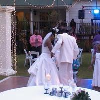 Our first dance interrupted by our children who wanted to dance too!