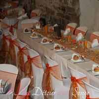 Wedding white, orange and gold