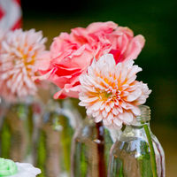 Dahlia and Rose Centerpieces