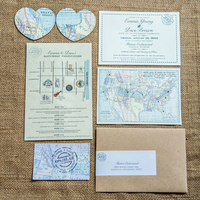 Map Themed Wedding Invitation