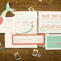 Coral and Mint Green Wedding Invitation
