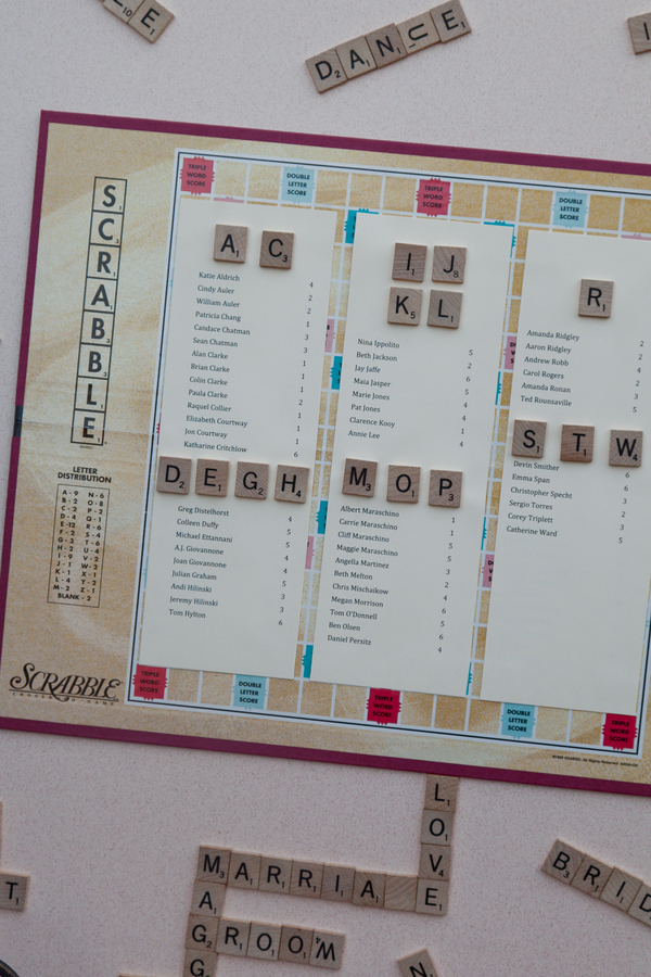 Scrabble Seating Chart