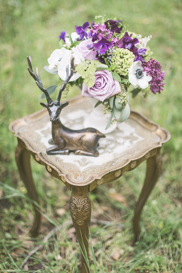 Purple Flowers and a Deer