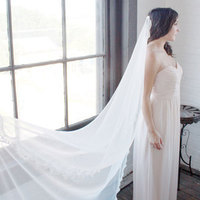 Floor Length Mantilla with Scallop lace