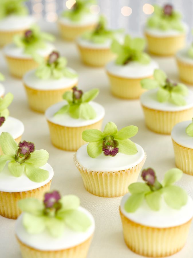 Declicious Vanilla Cupcakes with Green Dendrobium Bloom Toppers