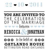 Audrey Square Flat Wedding Invitation in Black - DreamDay Invitations