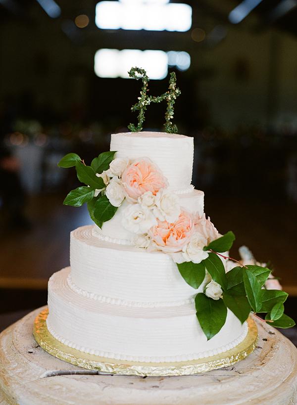 Monogrammed Floral Wedding Cake