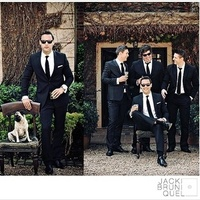 groom with his favorite guys and pug