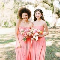 Long Coral Bridesmaids dresses