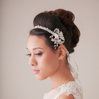 Ribbon, Rhinestone and Floral Headband
