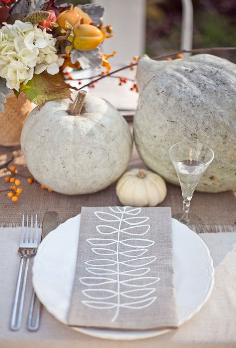 Grey and White Fall Tablescape