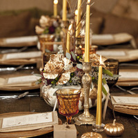 Flowers & Decor, brown, gold, Centerpieces, Candles, Fall Wedding Flowers & Decor, Glam Wedding Flowers & Decor, Winter Wedding Flowers & Decor, Table settings, Pumpkins, Amber, Tablescapes, romantic wedding flowers & decor
