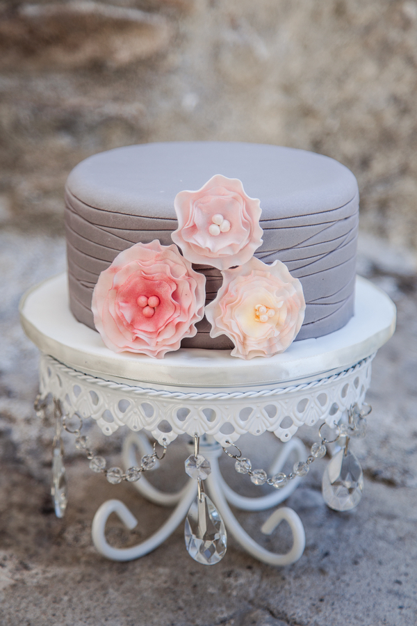 Sweet Gray and Pink Cake