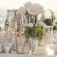 Silver and White Centerpieces