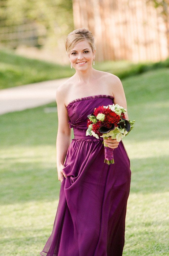 Strapless Purple Bridesmaid Dress