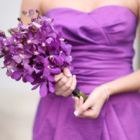 Radiant Orchid Dress and Bouquet