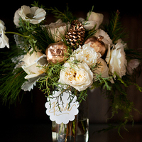 Ivory and Gold Winter Bouquet