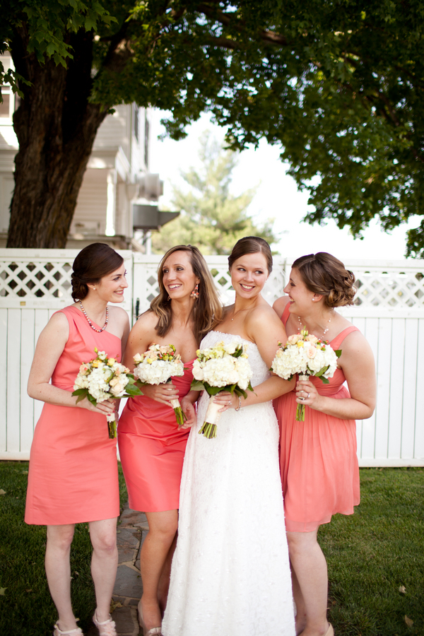 Bridesmaids in Coral