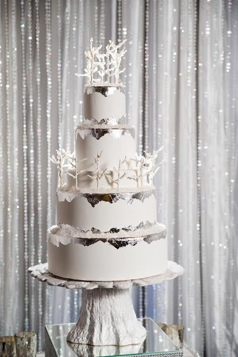 Tree Forest Winter Wedding Cake