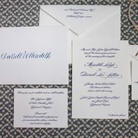 Navy Blue Classic Wedding Invitations