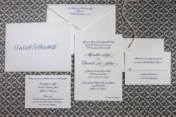 Navy Blue Classic Wedding Invitations
