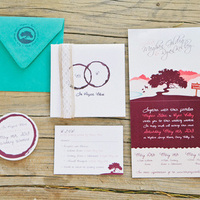 Burgundy Colorful Wedding Invitations