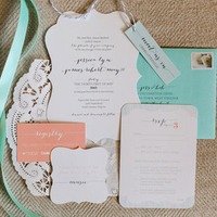 Teal and Blush Romantic Wedding Invitations