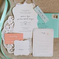 Teal and Blush Romantic Wedding Invitations