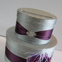Wedding Card Box Silver and Plum