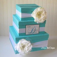 Tiffany theme wedding card holder