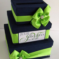 Wedding Card Box in Navy and Lime