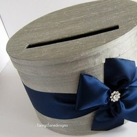 Handmade Card Holder in platinum and navy