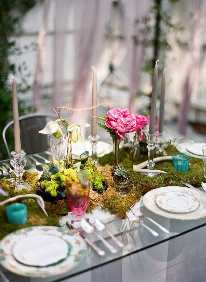 Mossy Garden Tablescape