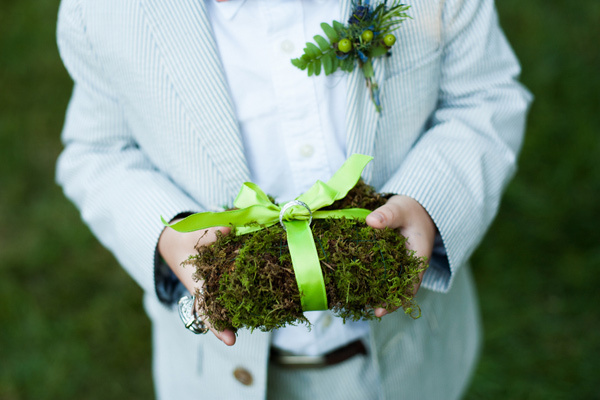 Moss and Ribbon Ring Pillow