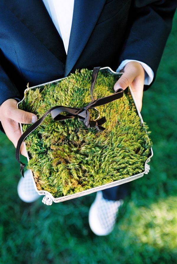 Elegant Moss Ring Pillow