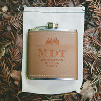 Monogram Leather Flask Groomsmen Gift