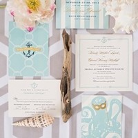 Pale Blue Nautical Wedding Invitations