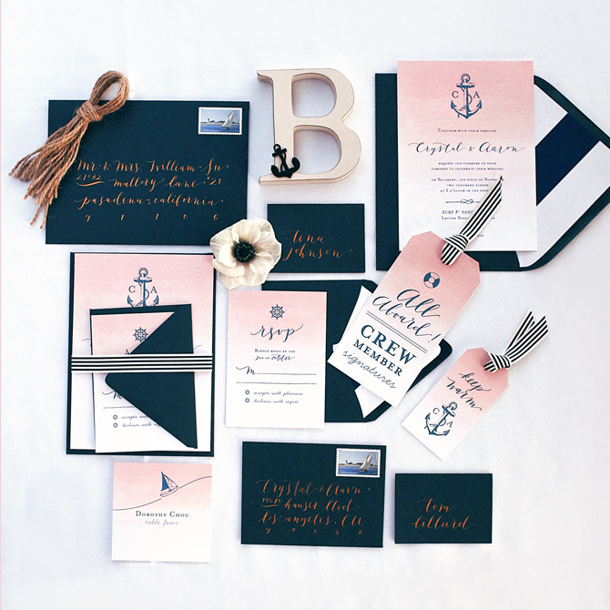 Blush Nautical Wedding Invitations