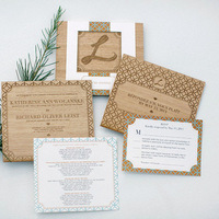 Patterned Rustic Wedding Invitations