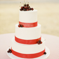 Cherry Topped Fruit Wedding Cake