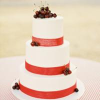 Cherry Topped Fruit Wedding Cake