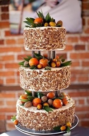 Orange Fruit Wedding Cake